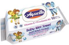 Aquella nedves baba törlőkendő 90 db E vitaminos és B5 provitaminnal FLIPTOP AQU.VIF.90