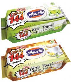 Aquella nedves  törlőkendő 144 db Zöld tea és kamilla tea - Advantage Package FLIPTOP AQU.FLP.12.144