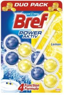 Bref wc tisztító és illatosító golyó Power Active 2 x 50 g Lemon