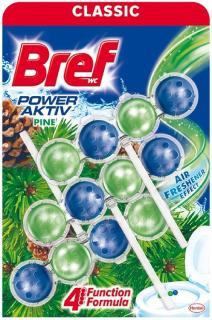 Bref wc tisztító és illatosító golyó Power Active 3 x 50 g Pine