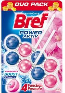 Bref wc tisztító és illatosító golyó Power Active 2 x 50 g Fresh Flower