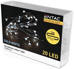 Entac Karácsonyi Beltéri Drótfüzér 20 LED CW 1m (2AA)-ECL-S20CW