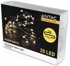 Entac Karácsonyi Beltéri Drótfüzér 20 LED WW 1m (2AA)-ECL-S20WW