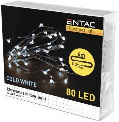 Entac Karácsonyi Beltéri Drótfüzér 80 LED CW 4m (3AA)-ECL-S80CW