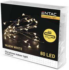 Entac Karácsonyi Beltéri Drótfüzér 80 LED WW 4m (3AA)-ECL-S80WW