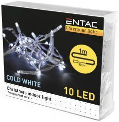 Entac Karácsonyi Beltéri Füzér 10 LED CW 1m (2AA)-ECL-10CW