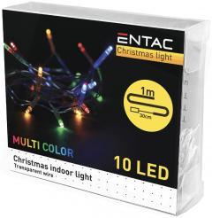 Entac Karácsonyi Beltéri Füzér 10 LED Színes 1m (2AA)-ECL-10MC
