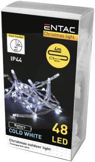 Entac Karácsonyi IP44 (kültéri)  Füzér 48 LED Időzítővel CW 4m (3AA)-ECL-48CW-T
