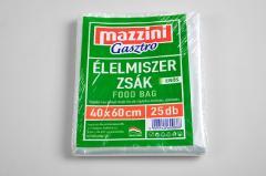 Mazzini élelmiszerzsák 25 db-os  40x60cm erős