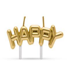 Troya gyertya - happy - arany színű (57502)