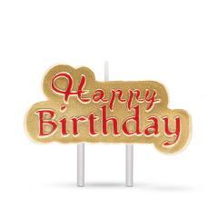 Troya gyertya - happy birthday - arany, piros betűkkel (57501b)