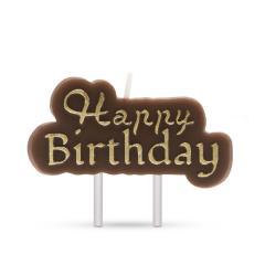 Troya gyertya - happy birthday - barna, arany betűkkel (57501c)