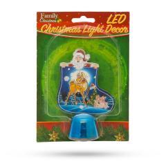 Troya Karácsonyi asztali LED dekor - fényes talppal - csizma kék - 12 cm - (55986B)