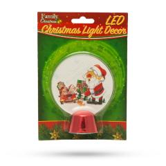 Troya Karácsonyi asztali LED dekor - fényes talppal - mikulás - 11 cm - (55986D)