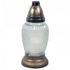Troya Mécses 17cm/30g  LA351F antik kupak/fehér üveg, égési idő 10h