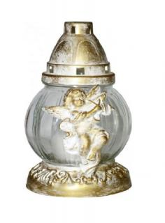 Troya Mécses 20cm/50g  LA21AN-BZ antik kupak/fehér üveg, égési idő 15h ANGYALKÁS