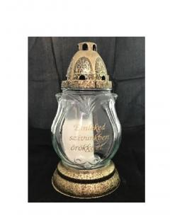 Troya Mécses 23cm/80g  LA393-INS antik kupak arany/fehér üveg, égési idő 24h FELIRATOS