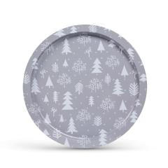 Troya Tálca - fém - ezüst - karácsonyi - 31 cm x 2 mm - 143 g - (55932G)