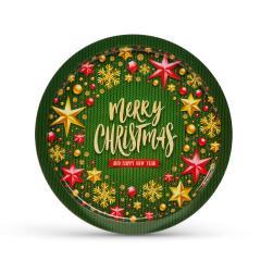 Troya Tálca - fém - zöld - karácsonyi - 31 cm x 2 mm - 143 g - (55932I)